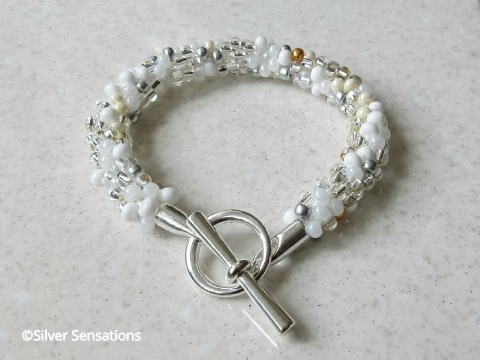 White Clear & Silver Kumihimo Fashion Bracelet